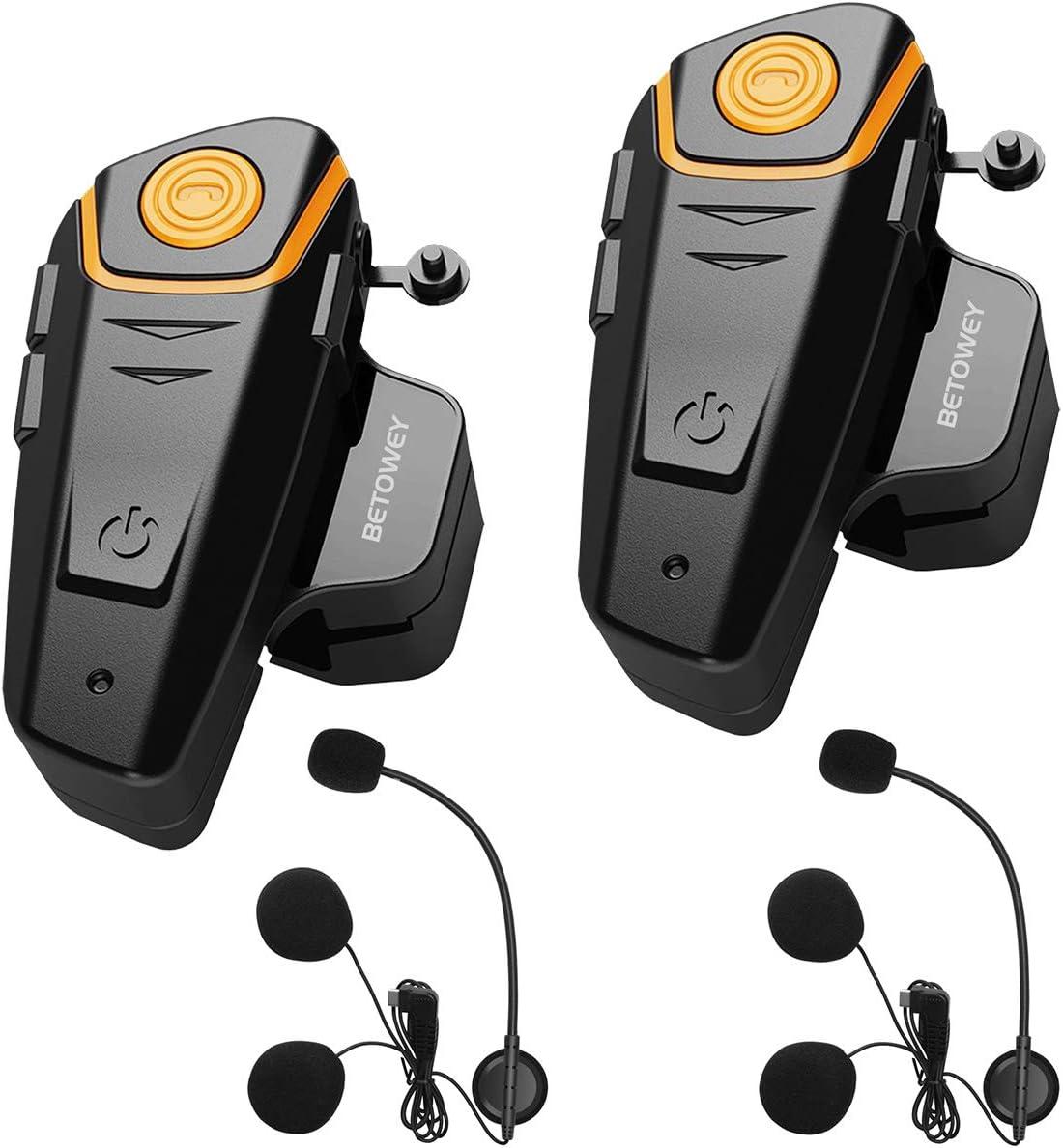 BETOWEY 2X BT S2 Intercomunicador Casco Moto Manos Libres Auriculares Sistema de Comunicación por Bluetooth para Motocicletas (Paquete 2, Micrófono Duro)