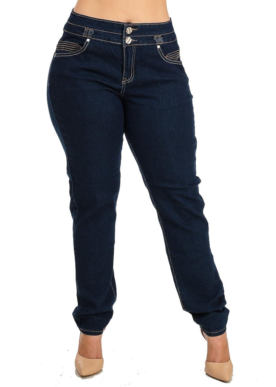 a171d1a65a7 PLUS SIZE High Waisted Butt Lifting Dark Denim Straight Leg Jeans 10324K