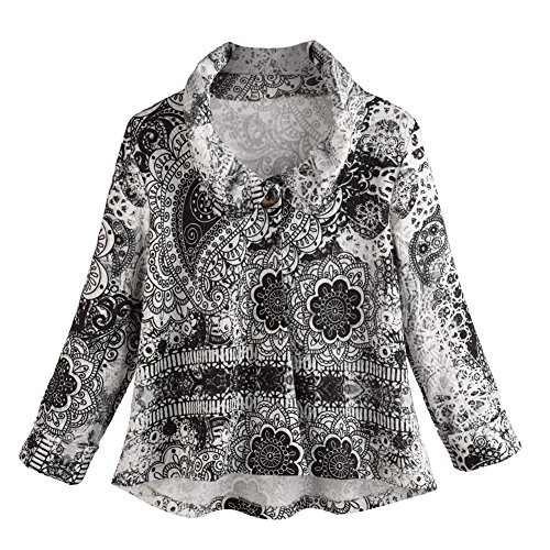 Women's Jacket - Black And White Medallion Printed One Button Cardigan - 3X
