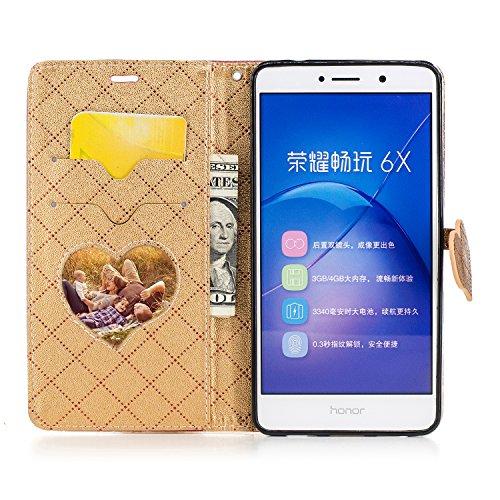 Meet de LG K102017Funda de piel, [funda tipo cartera] [ranuras para tarjetas efectivo bolsa de cambio de piel sintética moda Color sólido Retro Entramado Diseño] suave TPU silicona parachoques Inter marrón