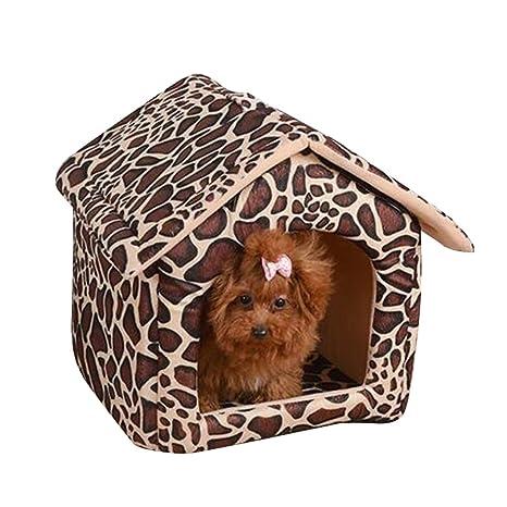 Caseta de Perro Simple Nido de Gato Extraíble Transportable Lavable Encantador y Cómodo Jaula para Perro