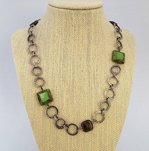Fine silver necklace, square green glass beads, bronzite, sterling silver (Glass Textured Sterling Silver Necklace)