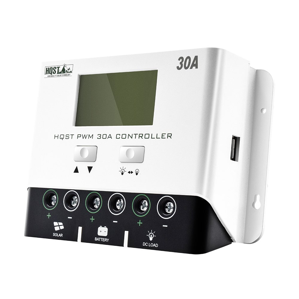 HQST 30A PWM Negative-Ground Solar Charge Controller 12V/24V Battery Charge Regulator with LCD Display,5V USB Mobile Charger Output