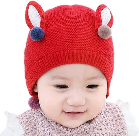 Scrox 1x Sombrero Peluche Orejas Lindas El Conejo Gorra Bebé Niños Gorritas Otoño Invierno recién Nacido Algodón Gorro de Croché Caliente (Rojo): Amazon.es: Hogar