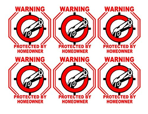6 Pcs Super Popular Warning Protected by Homeowner Sticker Sign Being Watched Security Surveillance Size 3' x 3'