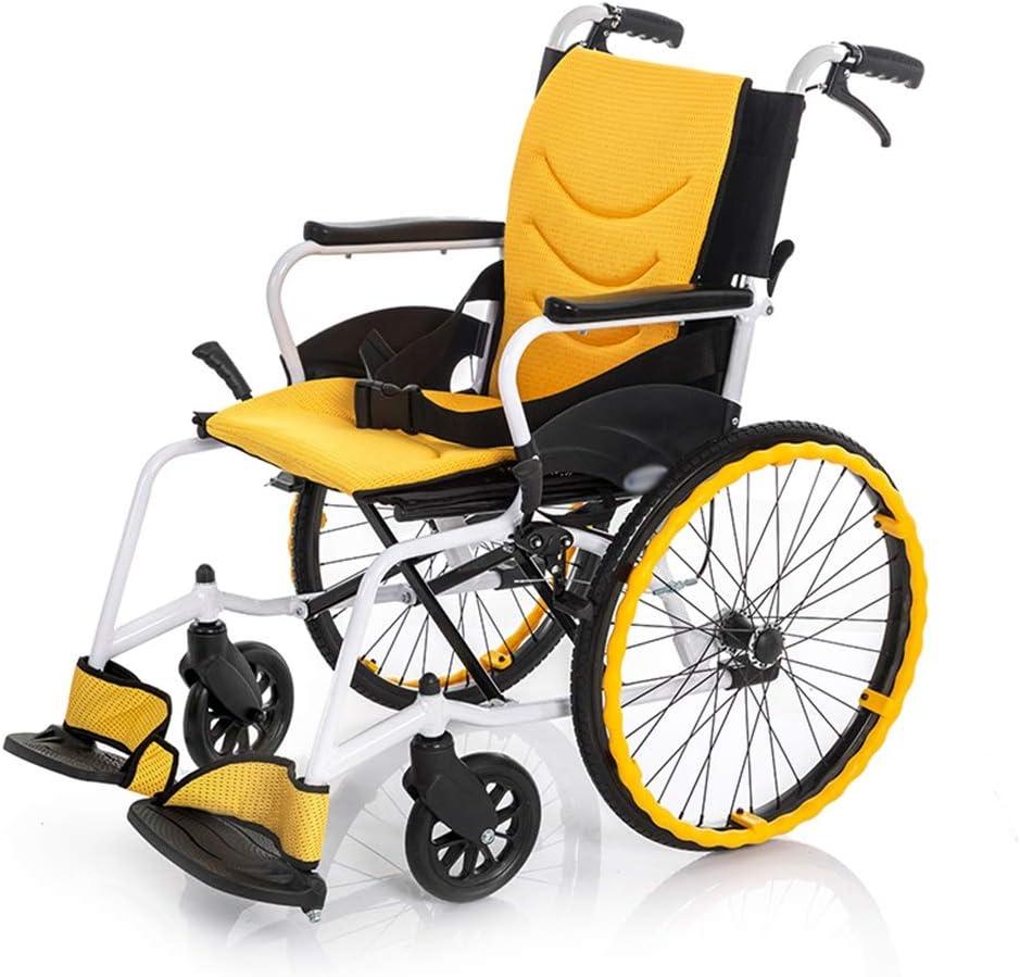 Teng Peng Silla de ruedas, aleación de aluminio ultraligero de conducción médica silla de transporte tejido transpirable asiento ancho viaja manual 46cm que dobla el pequeño y fácil de llevar, negro s