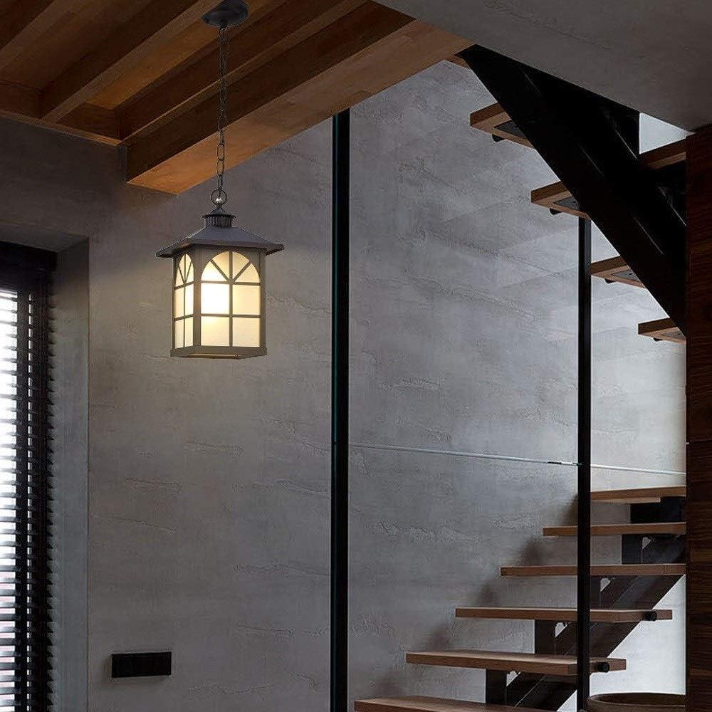 Reisx Lámpara de luz colgante de vidrio impermeable a prueba de lluvia retro Lámpara de aluminio exterior Balcón Lámpara de techo de garaje Iluminación E27 Pasillo de óxido al aire libre Linterna