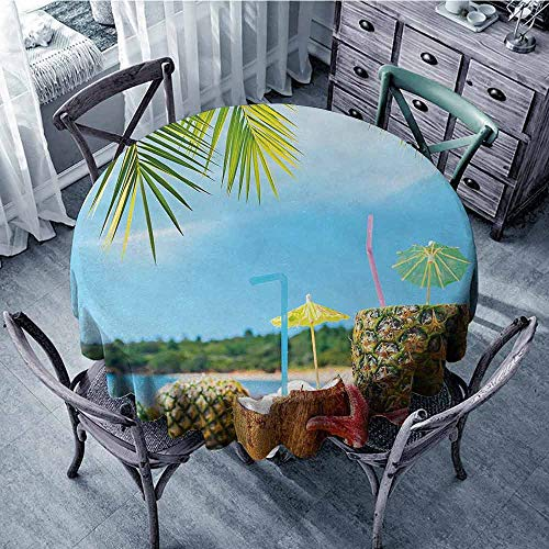 - ScottDecor Waterproof Round Tablecloth Tropical,Fresh Summer Fruits Coconut and Pineapple Drinks at Exotic Beach Palm Trees,Blue Green Brown Printed Tablecloth Diameter 54