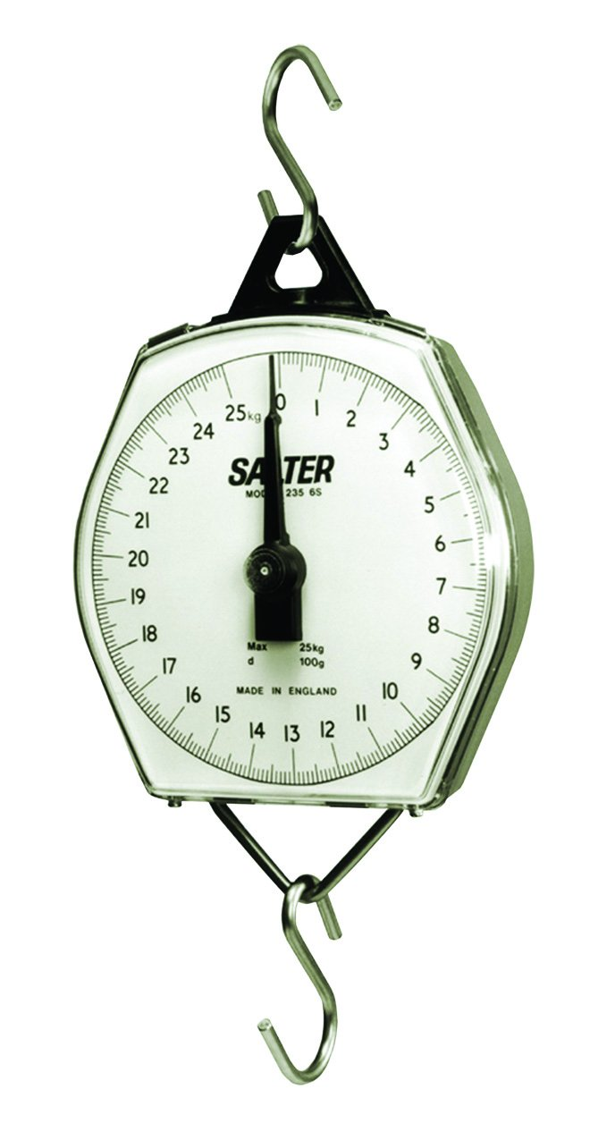 Sachem Brand Group ABS ABS Plastic Housing with Shatterproof Dial Cover 22 lb x 2 oz Capacity Cubic/_inches Degree C Includes Hooks Metal Brecknell MSKN11708010000 Brecknell 235-6S Hanging Scale