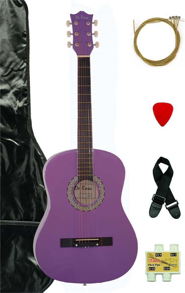 Paquete de 36 pulgadas 3/4 tamaño de escala – Guitarra acústica, guitarra, funda, correa, silbato afinador y DirectlyCheap (TM) azul translúcido Medio púa de guitarra (A-Pro Series): Amazon.es: Instrumentos musicales