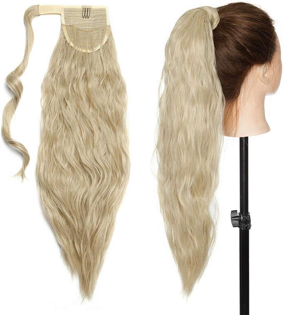 50cm Extensiones de clip de pelo natural ola de maíz cola de caballo Pasta Mágica ondulado Ponytail Hair Extension Pedazo de cabello Rubio ceniza mix lejía rubia