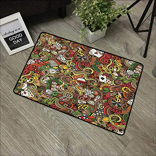 (Entry Way Outdoor Door Mat Casino,Doodles Style Artwork of Bingo and Cards Excitement Checkers King Tambourine Vegas, Multicolor,with Non Slip Backing,24