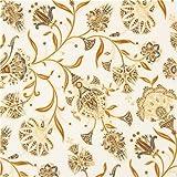 Cream brown grey flower gold metallic fabric Robert Kaufman Studio RK (per 0.5 yard unit)
