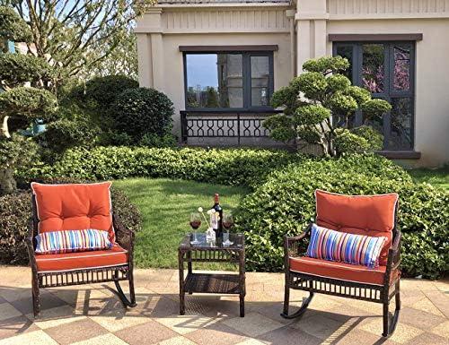 DECMICO Outdoor Rattan Rocking Chair 3 Pieces Patio Conversation Furniture Bistro Set
