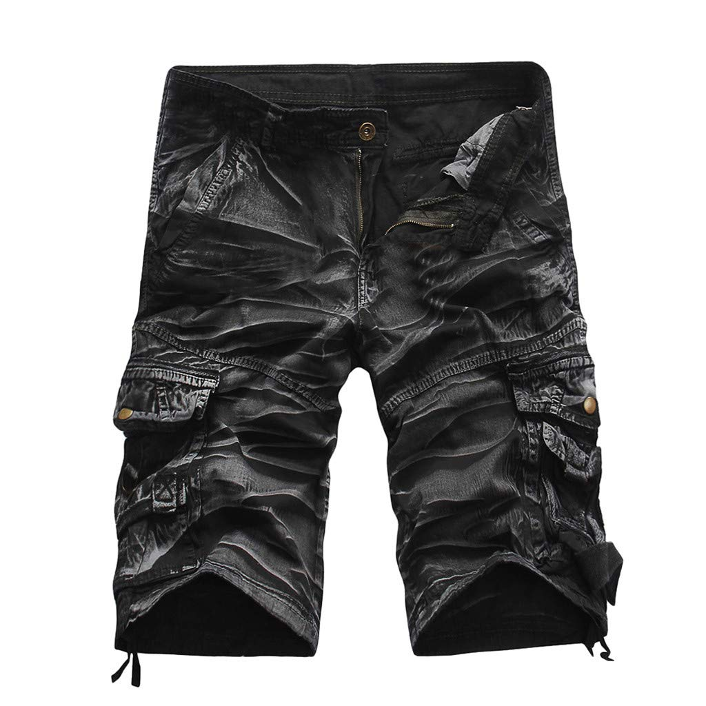Ratoop Men's Casual Pure Color Outdoors Pocket Beach Work Trouser Cargo Shorts Pant (Black Camouflage C, 34) by Ratoop-Pants