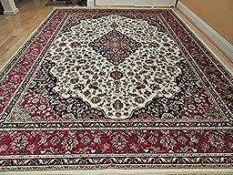Luxury Silk Rug Ivory Rug Living Room Cream Area Rugs Traditional Medallion 5x8 Rugs Persian 5x7 Dining Room Rug