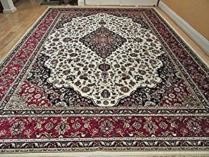 Luxury Silk Rug Ivory Living Room Cream Area Rugs Traditional Medallion 5x8 Persian 5x7 Dining