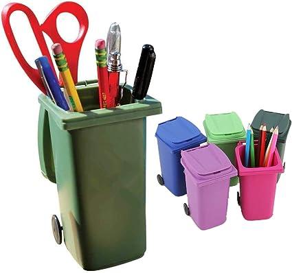 Caja de almacenamiento de escritorio, portalápices creativo, suministros de oficina, papelera de carretera, creativa, reciclado, 2 unidades: Amazon.es: Oficina y papelería