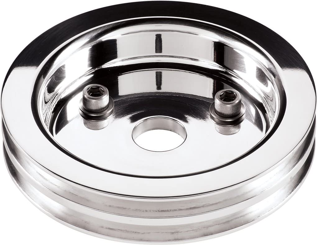 NEW BILLET SPECIALTIES POLISHED BBC CRANKSHAFT PULLEY FOR USE WITH SHORT WATER PUMPS 6061-T6 ALUMINUM 2 V-BELT GROOVES BIG BLOCK CHEVY 6 7//16 MIRROR FINISH