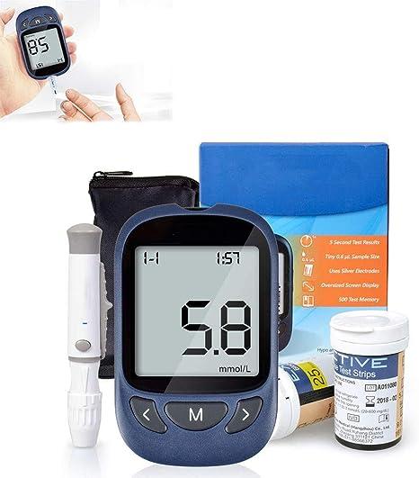 WYZXR Kit de monitorización de glucosa en Sangre, Kit de Prueba de Diabetes Kit de Prueba de azúcar en Sangre con Tiras de Prueba X 50 y lanceta X 50 -en Mmol/L: