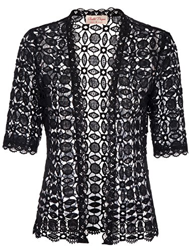 Cardigan Classic Vintage (Belle Poque Vintage Women's Sheer Shrug Beach Bikini Kimono(M,Black 564-1))