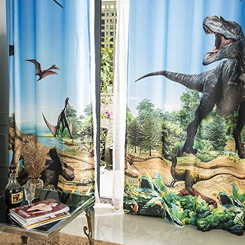 Wapel 3D Glacier Dinosaur Jurassic Cartoon Boy Boy Room Theme Room Background Wall Shade Curtain 240X260CM by Waple (Image #3)