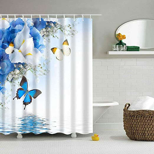 Summer Butterfly Lake Shower Curtain Polyester Fabric Waterproof with Hooks