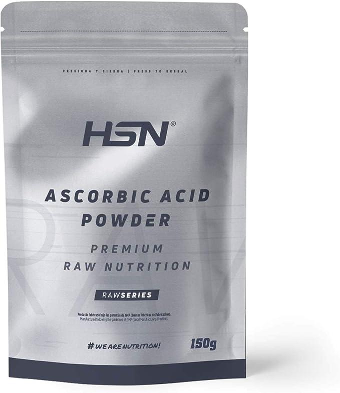 Vitamina C en Polvo (Ácido Ascórbico) de HSN | Antioxidante Natural, Antiinflamatorio, para Crear Colágeno | Vegano, Sin Gluten, Sin Lactosa, Libre ...
