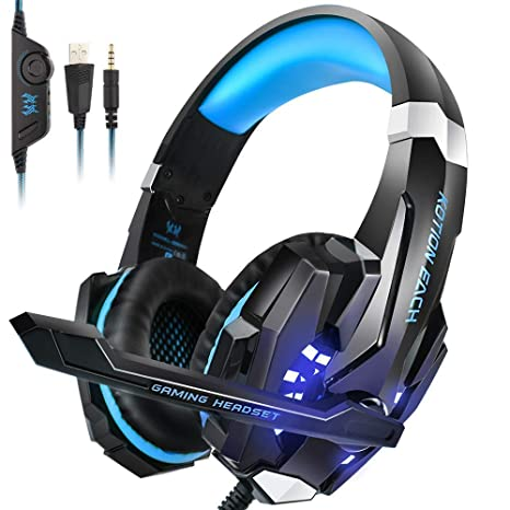 PS4 Headset, insmart Over-Ear Auriculares para juegos con micrófono para PC Gaming LED