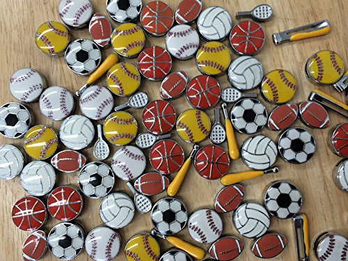 Sports Charms (PEPPERLONELY Brand 10PC Assorted 8mm Sports Slider Charms)