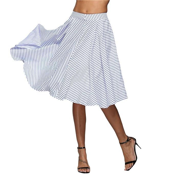 567064079 TianBin Faldas Midi de Verano para Mujer Maxi Plisada Alta Cintura ...