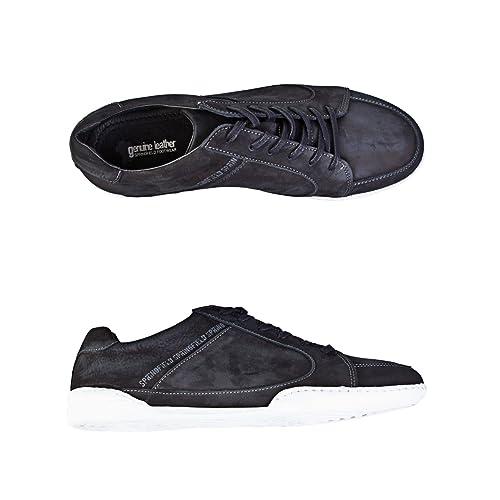 Springfield - Zapatilla deportiva en piel con efecto desgastado - Hombre: Amazon.es: Zapatos y complementos