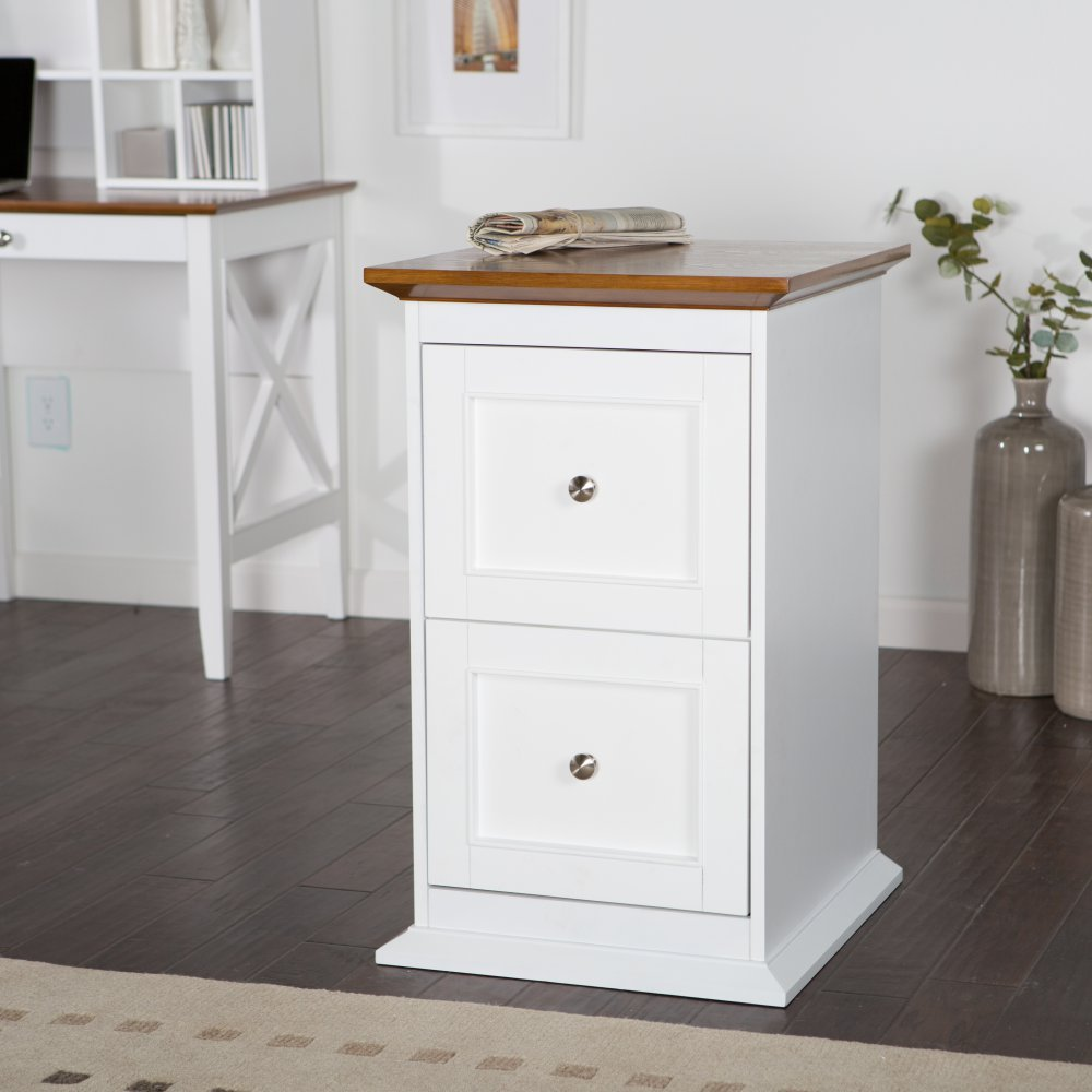 Amazon.com : Belham Living Hampton 2 Drawer Wood File Cabinet   White/Oak :  Office Products