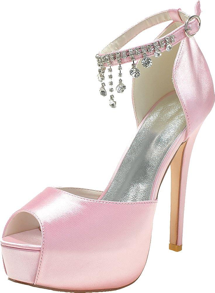 3128-21 Dress Ladies Comfort Platform 37 Platform Bride Bridesmaid Party Prom Wedding Dress Work Peep Toe Rhinestone Slip On Satin Sandals Pink 37 EU - 5512534 - gis9ma7le.space