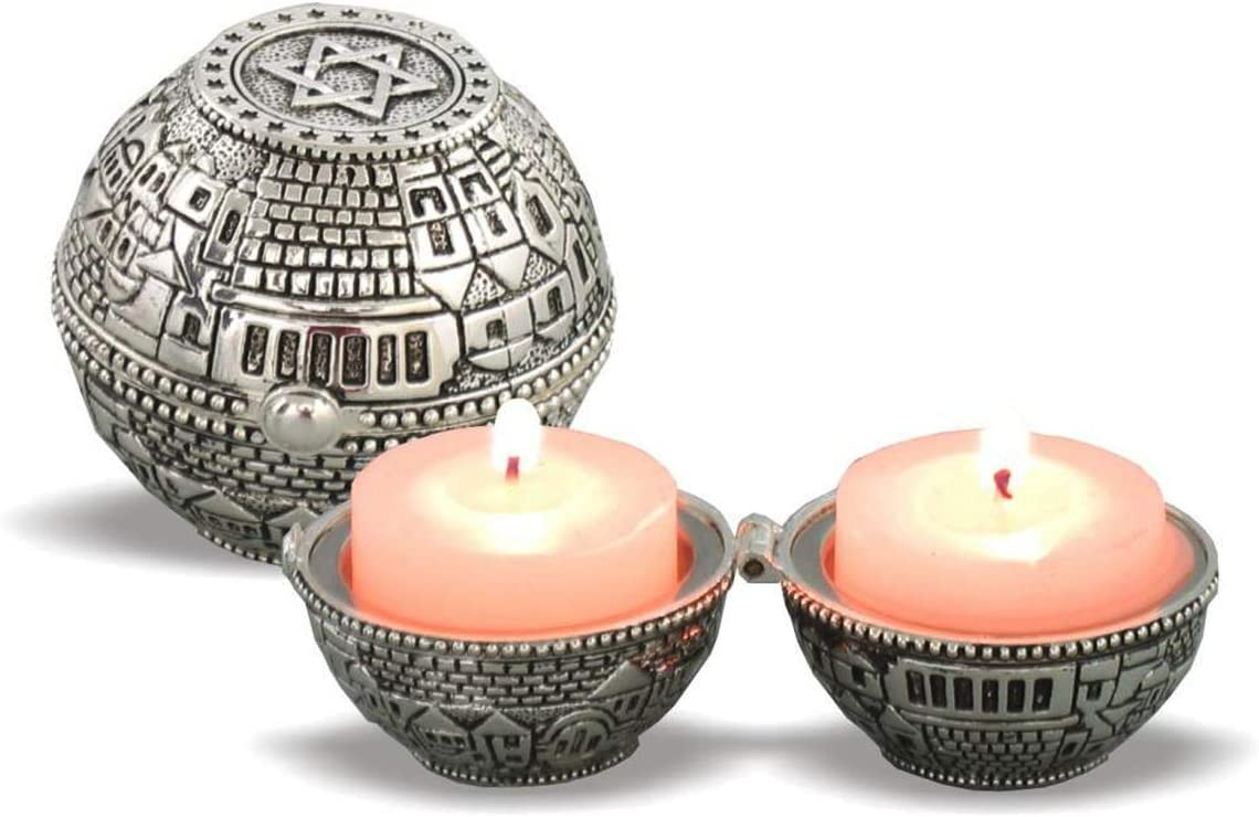 Judaica Unlimited Shabbat Travel Candlestick Holder 2 Candles