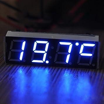 Reloj 3 en 1 con termómetro y voltímetro digital para coche de Candora, 7-30 V, con luces LED