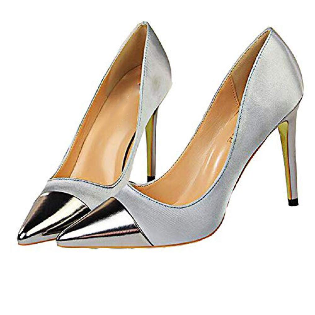 Grey GanQuan2018 Women Stiletto Thin High Heel Pointed Toe Slip on Sexy Dress Pumps