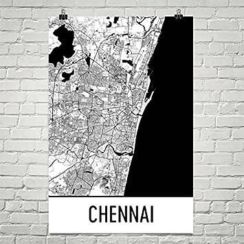 Chennai map chennai art chennai print chennai india poster chennai wall art