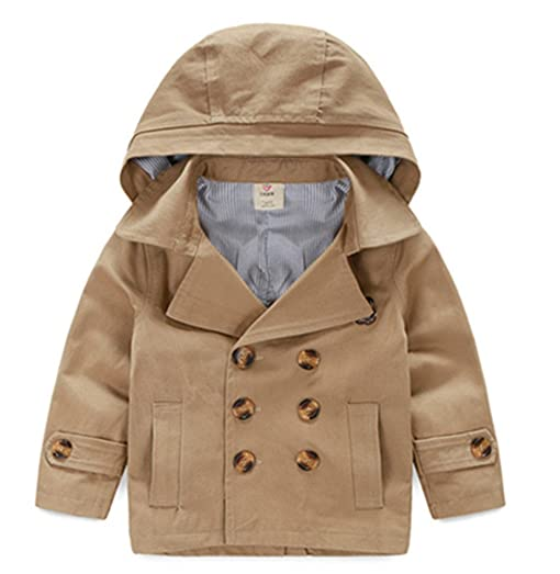 Amazon.com: LJYH Toddler Boys' Classic Peacoat Hooded Toggle Coat ...