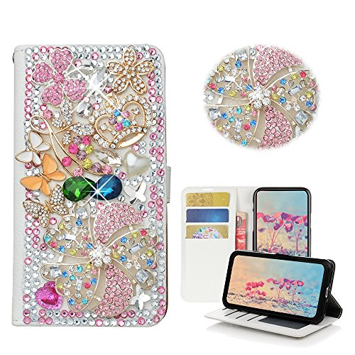 STENES Google Pixel 2 Case - STYLISH - 3D Handmade Bling Crystal Windmill Flowers Crown Butterfly Desgin Wallet Credit Card Slots Fold Media Stand Leather Case For Google Pixel 2 - Pink ()