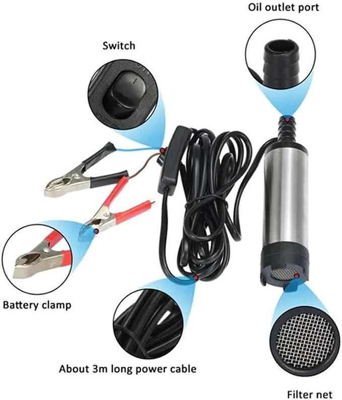 DC 12V Car Diesel Fuel Water Submersible Transfer Clip Tool Oil Pump Filter Net