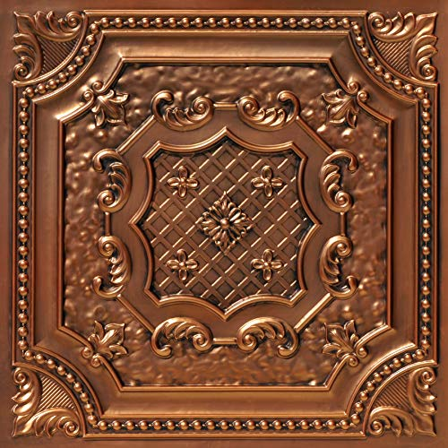From Plain To Beautiful In Hours DCT04ac-24x24 Elizabethan Shield Ceiling Tile, Aged Copper