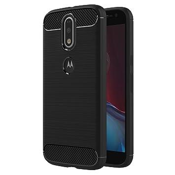 AICEK Funda Moto G4, Negro Silicona Fundas para Motorola Moto G4 Plus Carcasa Moto G4 / G4 Plus Fibra de Carbono Funda Case (5,5 Pulgadas)
