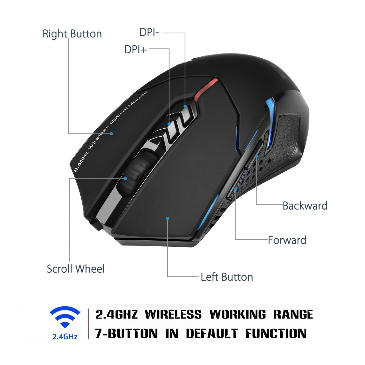 Wireless Mouse Pictek 7 Buttons 24g Gaming Computer Diagram Electronics