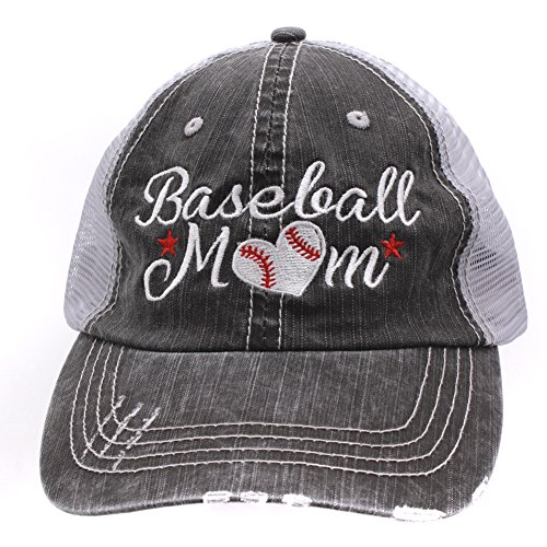 Baseball #Momlife Mom Love Heart Women Embroidered Trucker Style Cap Hat