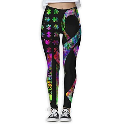 Autism Awareness American Flag Womens Full-Length Sports Running Yoga Workout Leggings Pants Stretchable