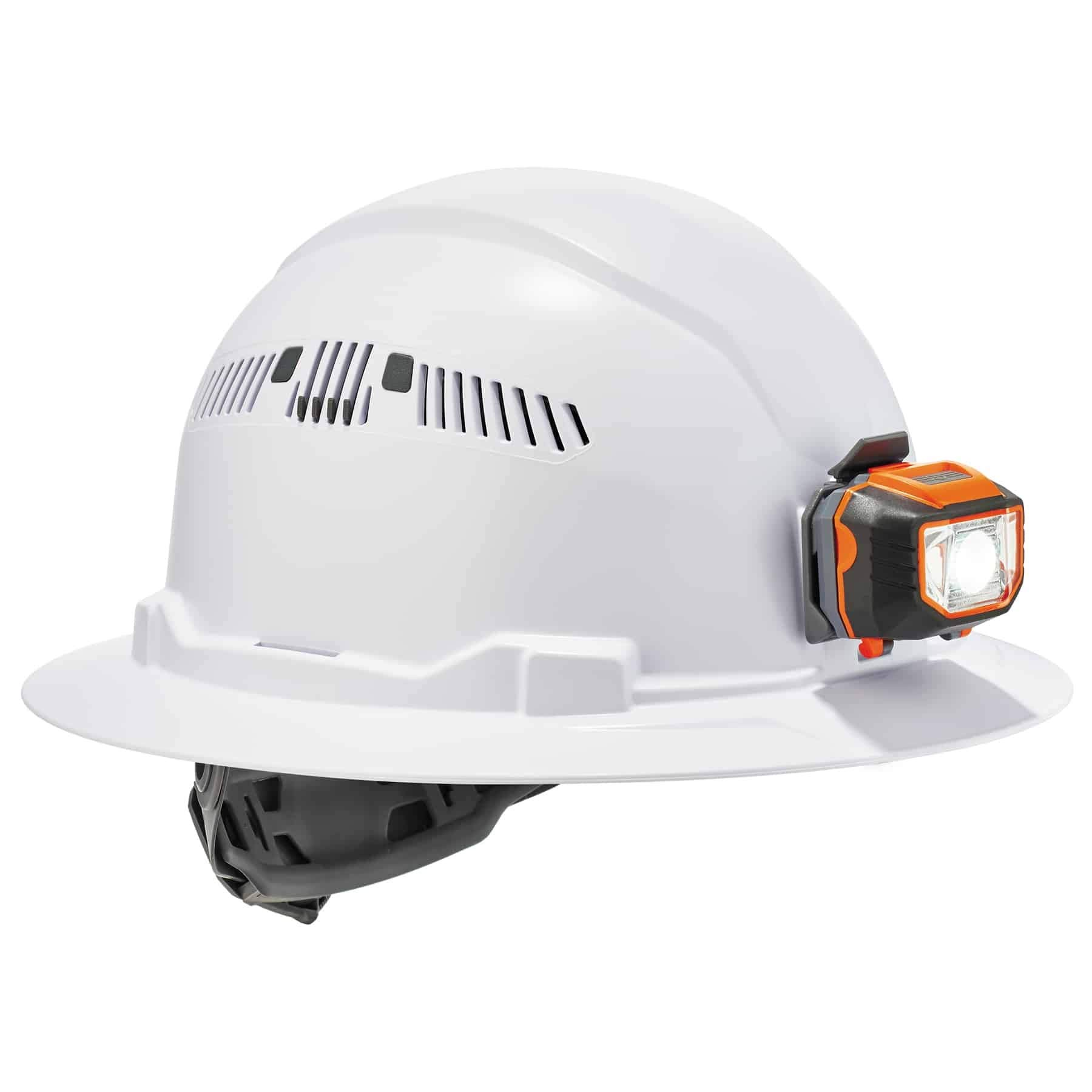 Vented Hard Hat with Light, Full Brim Style, Ratchet Suspension, Class C, Ergodyne Skullerz 8973 by Ergodyne