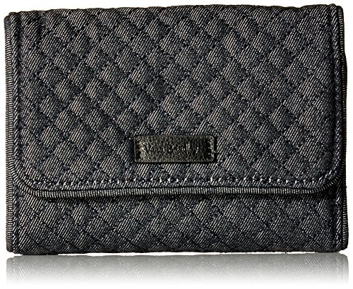 Fully Lined Quilted Wallet - Product title : Vera Bradley Iconic RFID Riley Compact Wallet, Denim