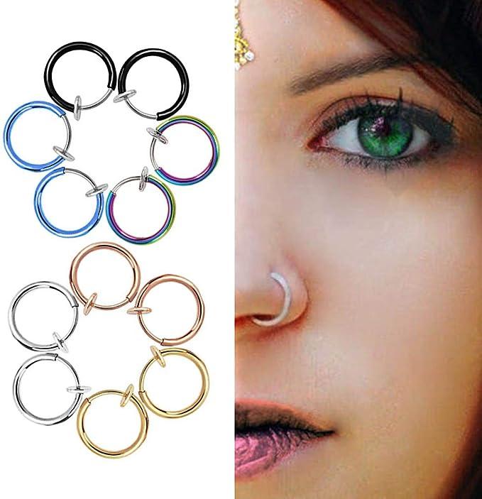 12 Pieces Fake Earrings Hoop Stainless Steel Hoop Non Pierced