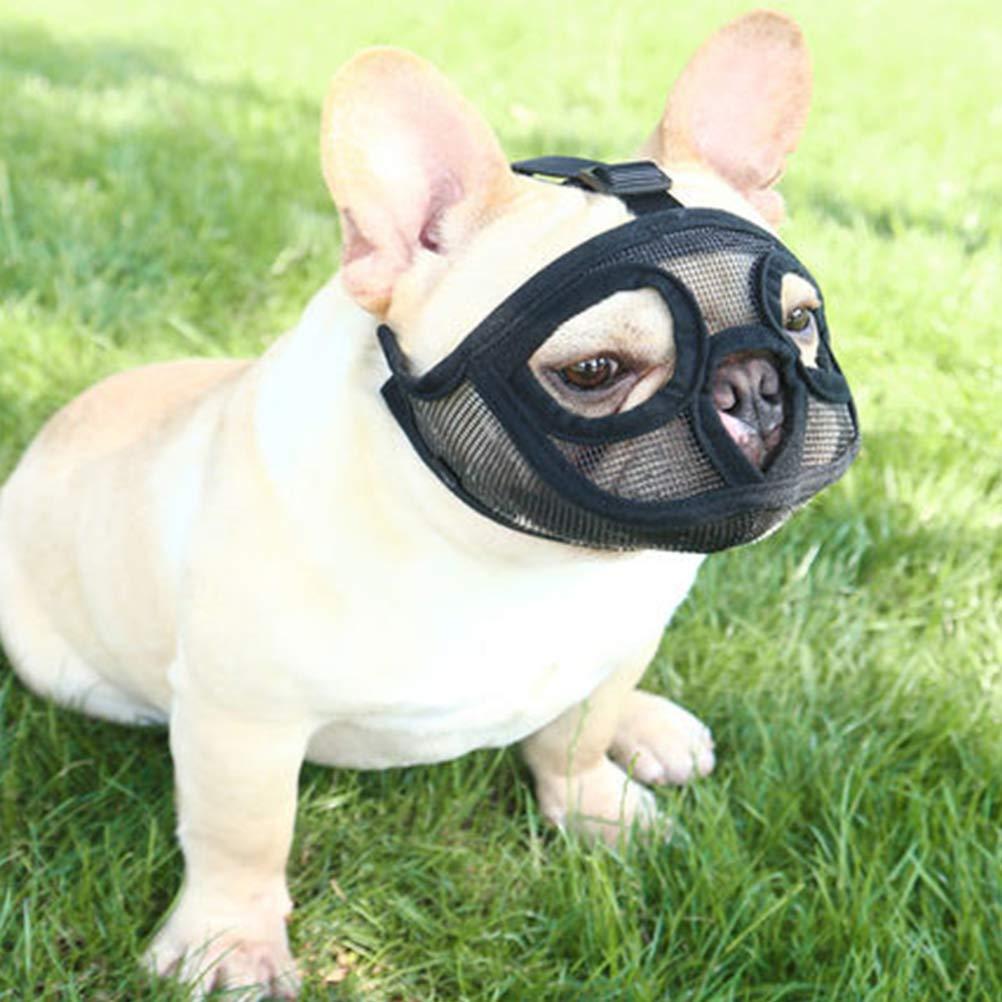Masticare Alberi l Maschera per Cani antipiede AimdonR Short Snout Dog Mucca Regolabile Mesh Bulldog Pugs Mucca da Masticare per Allenamento